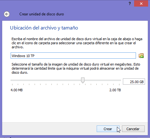Maquina Virtual de Windows 10 - Creación