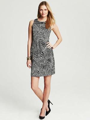 siyah beyaz çizgili elbise, simetrik elbise,