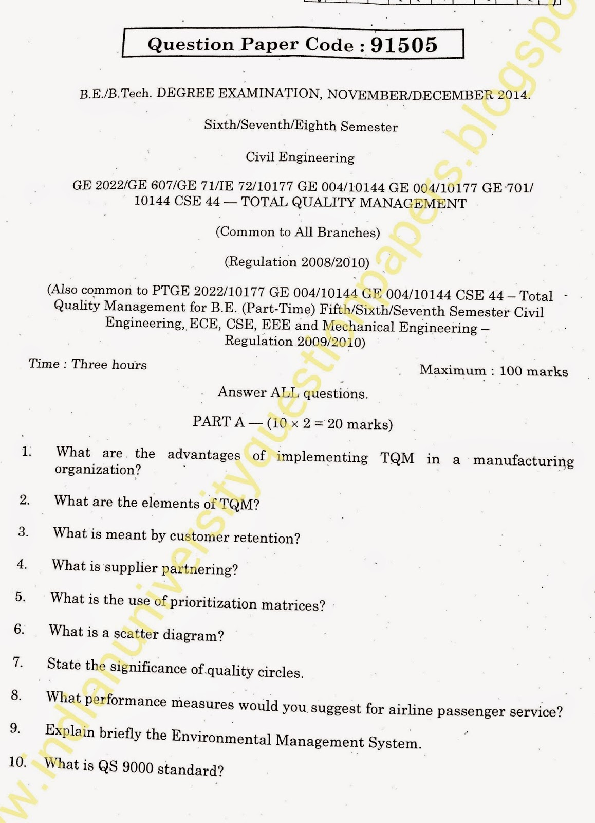 ba9203 total quality management question papers Ge2022 tqm question papers collections download - tqm previous year question papers rejinpaulcom provides anna university previous year model question papers for all departments tqm ge2022 total quality management question papers has been provided for all students.