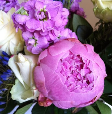 pink peonies and rosemary