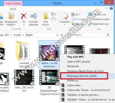 Windows 8 Başlangıç Ekranına Sabitle