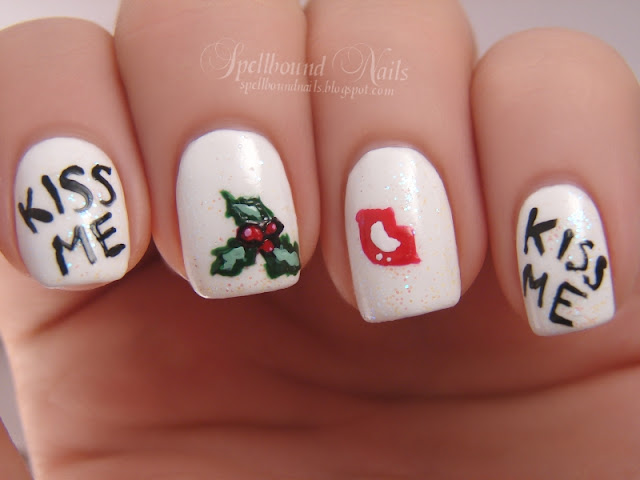 nails nailart nail art polish mani manicure Spellbound Sinful Colors Snow Me White Wet n Wild I Red a Good Book China Glaze Holly-Day L.A. Colors Black White green ABC Challenge M is for Mistletoe Kiss Me Under lips romance love Christmas Holiday glitter Pearl Harbor
