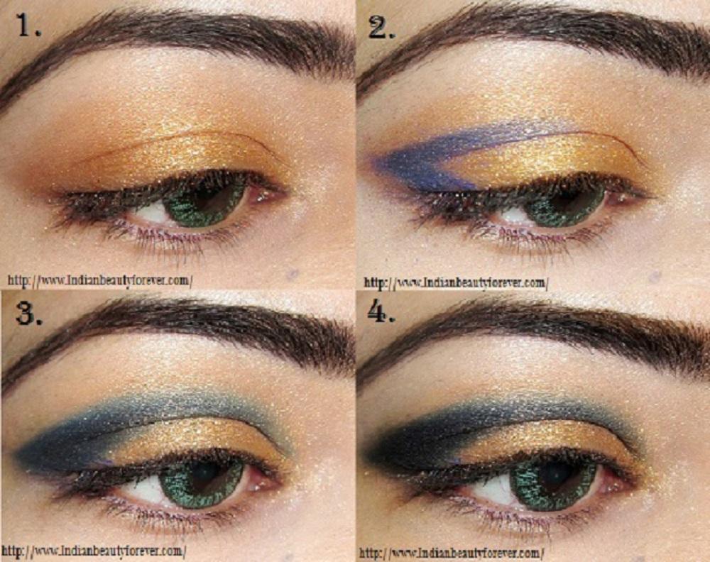 Blue gold eye makeup tutorial indian beauty forever baditri Images