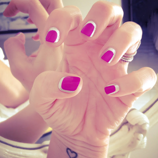 pink and silver chanel nails tutorial