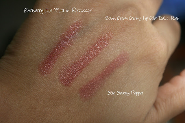 Burberry Rosewood Lip Mist Compared To Bobbi Brown Italian Rose and Bite Beauty pepper Swatches