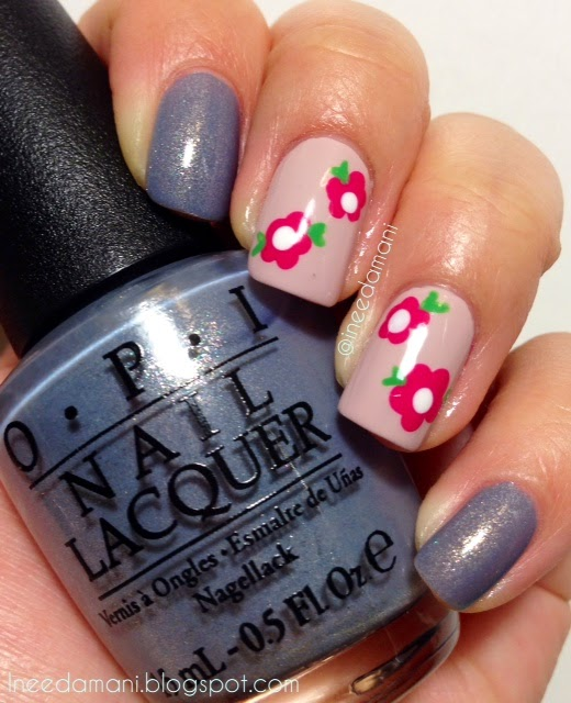 opi i don't give a rotterdam simple floral nails