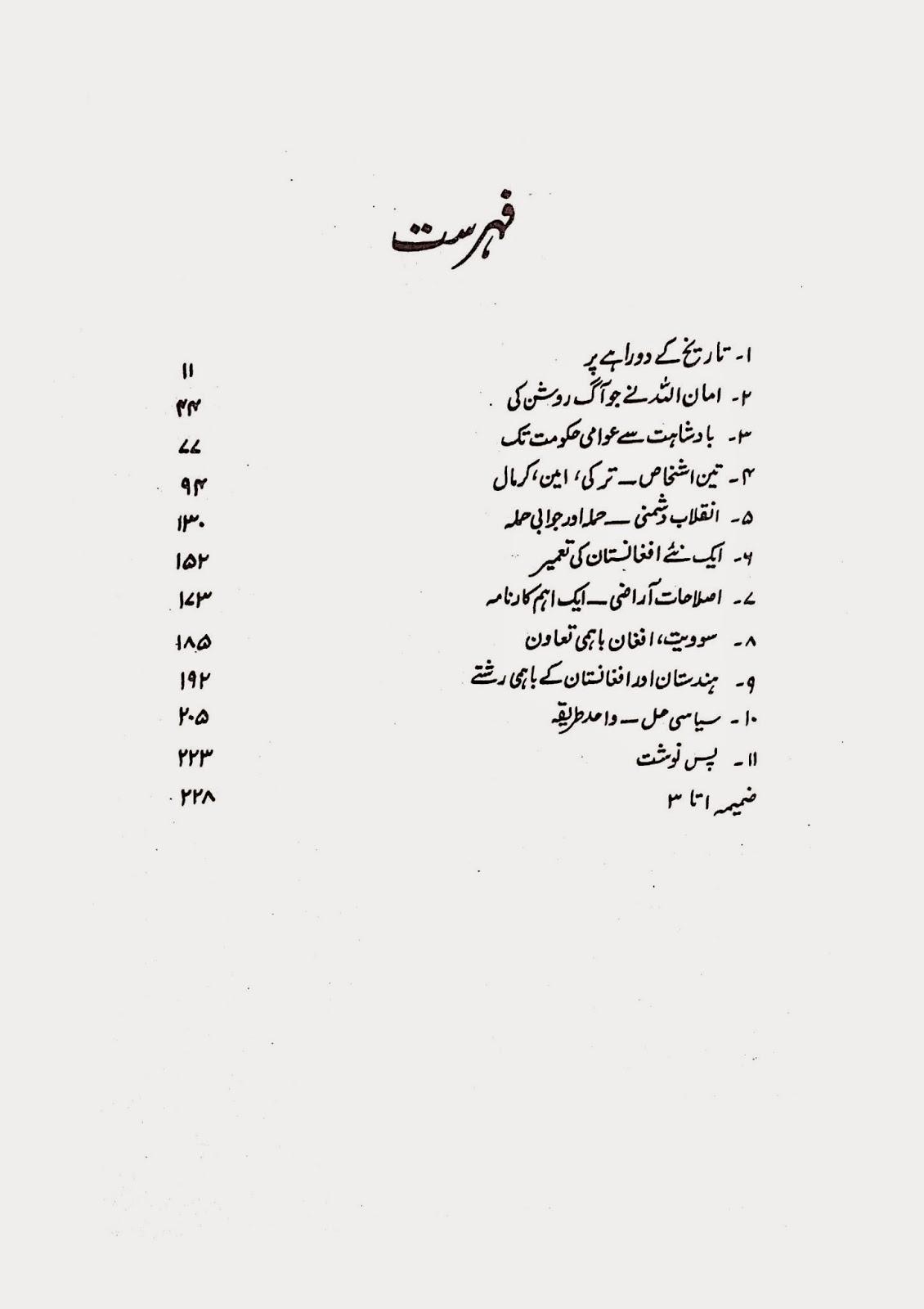 Contents: Afghanistan Zawaal sy Urooj tak By Sadhan Mukherjee in Urdu