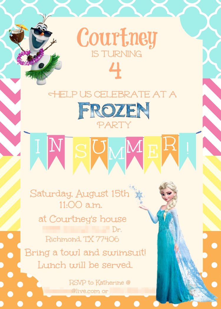 Colorful Summer Frozen Birthday Party Invitation