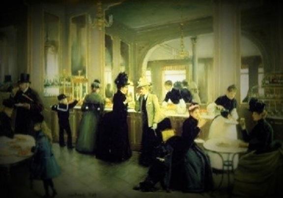 "FRIENDSHIP ""7"" by ""5"" CARD ""La Patisserise Gloppe, Champs Eyesees, Paris, 1889"""