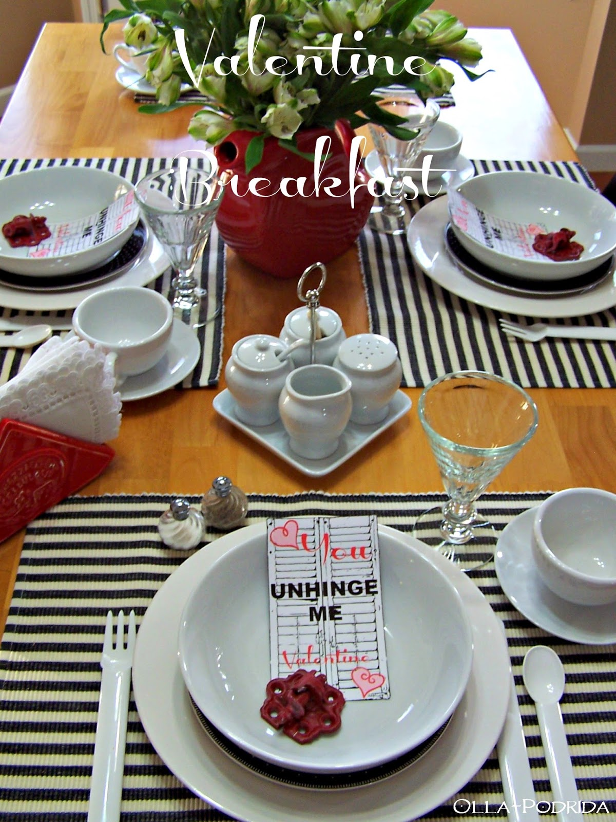 Valentine Breakfast Tablesetting & Olla-Podrida: Valentine Breakfast Tablesetting