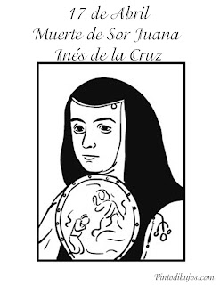 Muerte de Sor Juana Inés de la Cruz para colorear