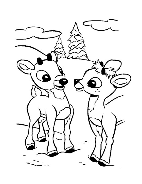 Rudolph Reindeer Coloring Page