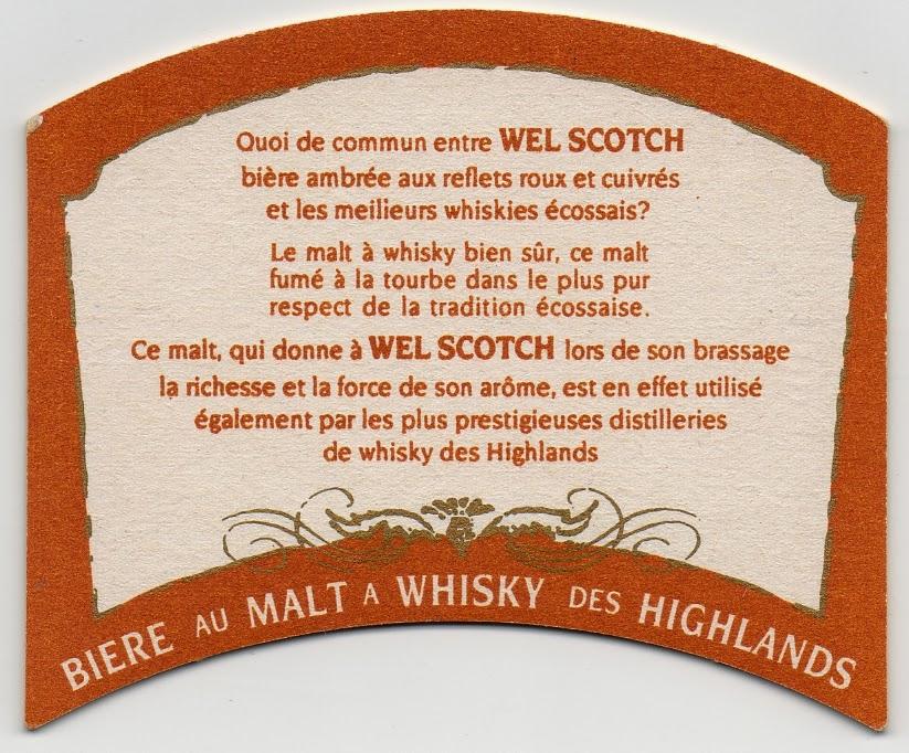 verso du sous-bock de la bière Wel Scotch