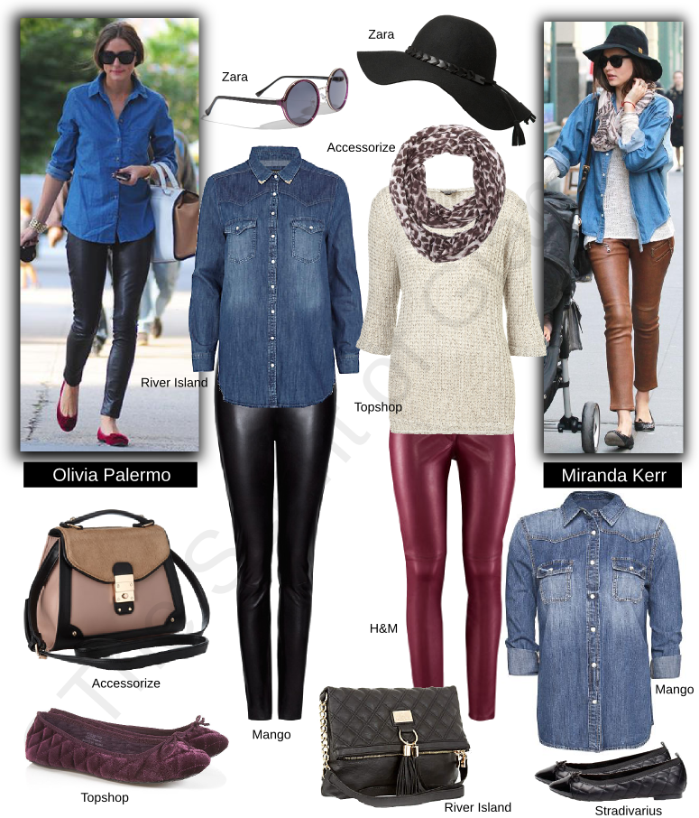 zara hat, zara round sunglasses, accessorize bag, topshop flats, river island black shoulder bag, river island denim shirt, mango denim shirt, stradivarius black flats, mango black leather pants, h&m leather pants, topshop knit blouse, accessorize scarf, celebrity style