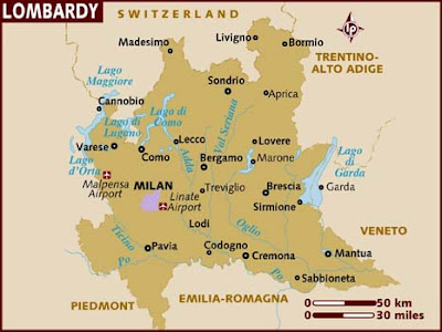 Mappa della Lombardia Italia