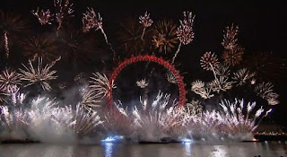 New Year in London 2012 Eve Celebrations, England, Fireworks across London Eye -Travel Europe Guide