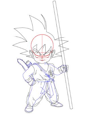 cara menggambar Goku kecil tahap 17