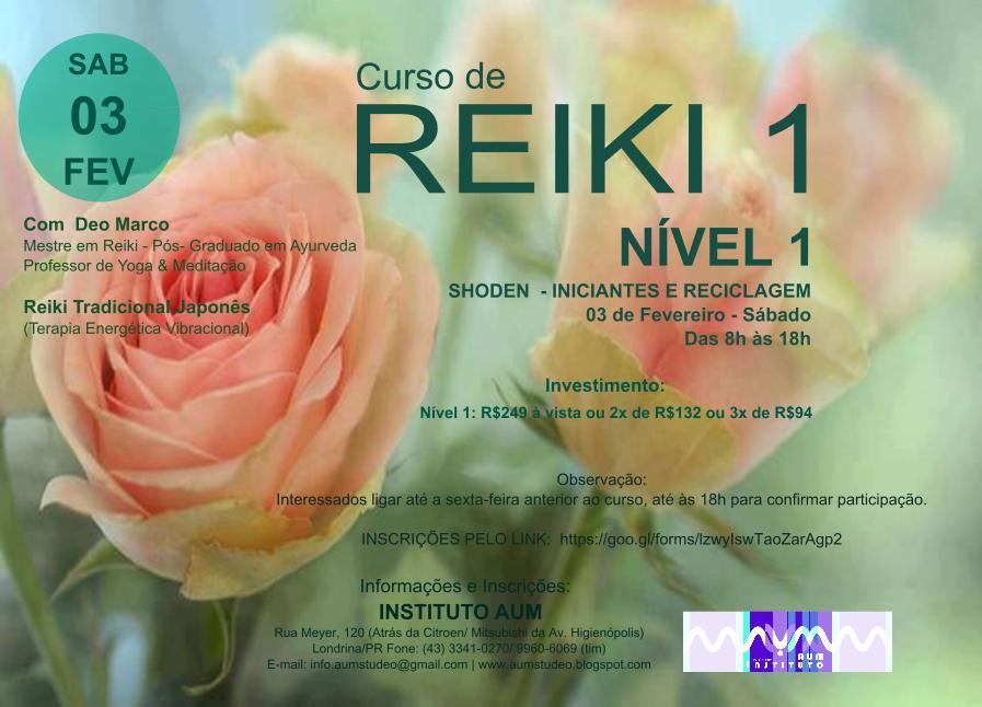 CURSO DE REIKI - NÍVEL 1, com Deo Marco