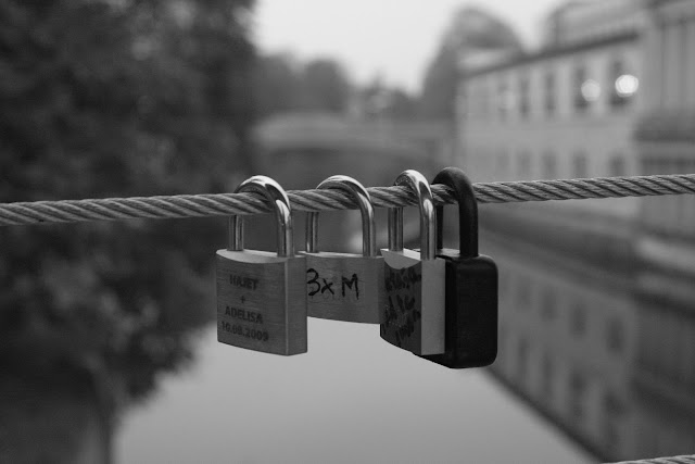 Symbols of locked together hearts.