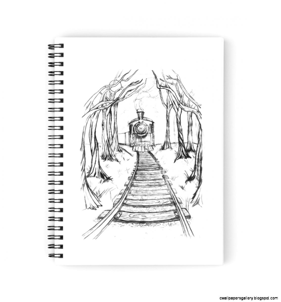 Wooden Railway  Pencil illustration railroad train tracks in