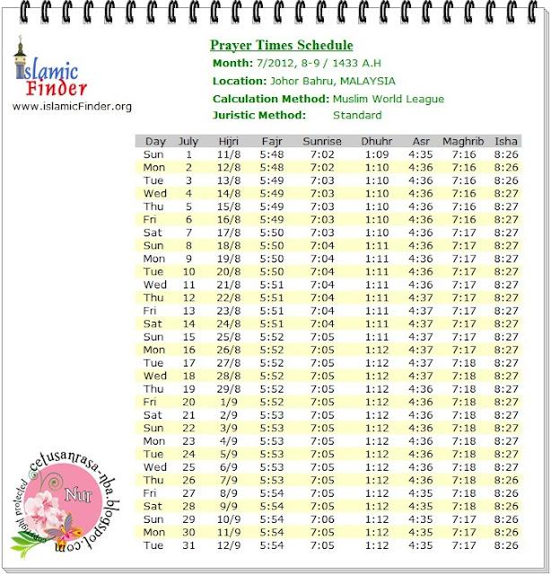Info : Zikir Harian dan Jadual Waktu Solat Bulan Julai dan Ogos 2012