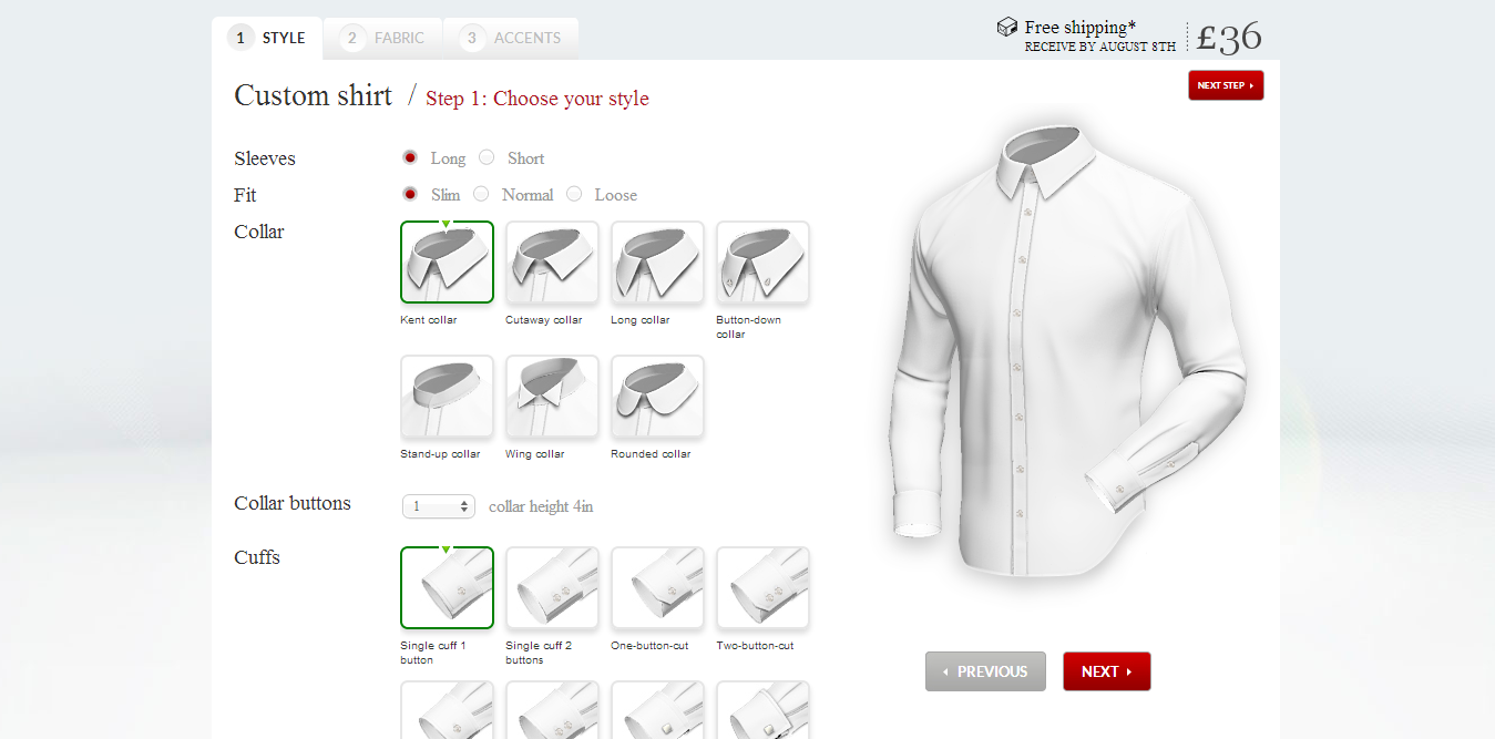 Custom Shirt- Style Section on Tailor4less