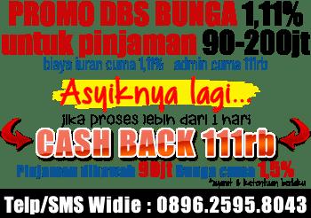 promo kta dbs agustus 2014 bunga 1,11% cash back Rp.111.000,- pinjaman ibawah 90jt bunga cuma 1,5%