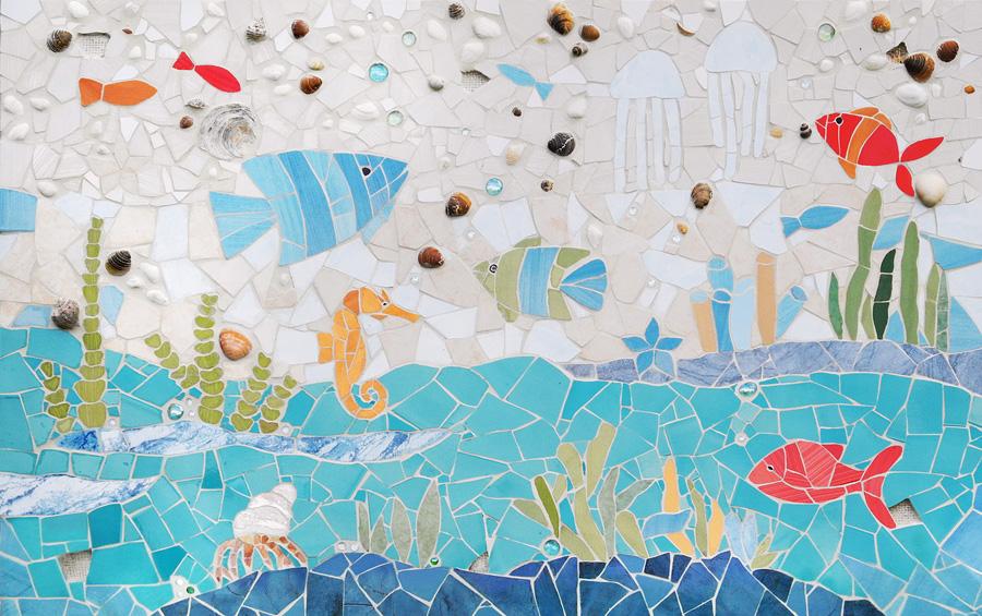 mozaika ścienna - obraz przed montażem