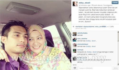 Abby abadi dah berkahwin dengan noor farrhan che bakar