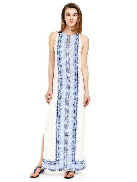 uzun derin yırtmaçlı elbise, desenli elbise, beyaz elbise, mavi elbise, kolsuz elbise, yazlık elbise, tatil elbisesi