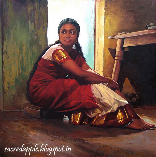 Tamil Girl Sitting in a corner