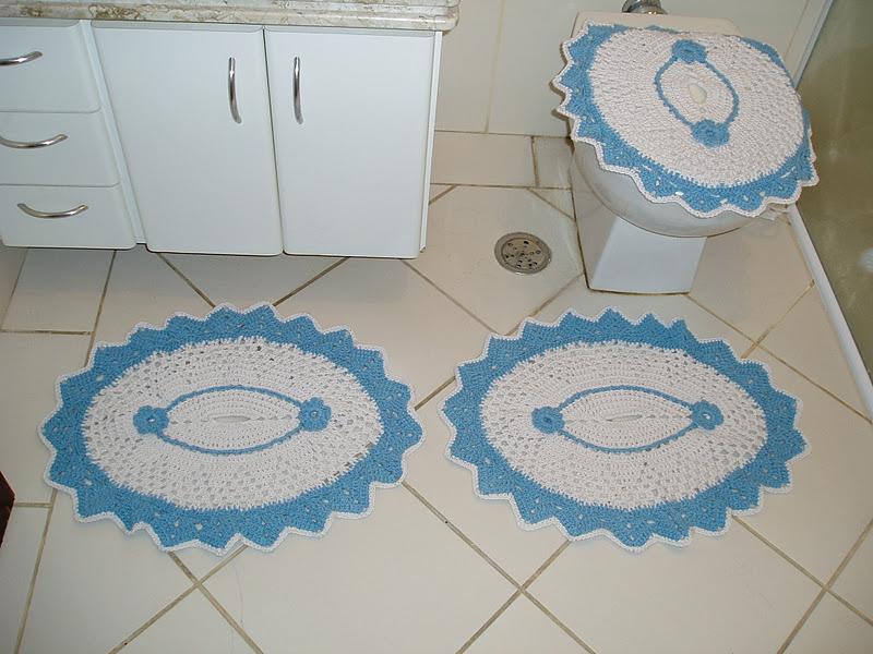 Jogo De Banheiro Azul Em Croche : Tecendo receitas jogo de banheiro oval em croche branco e