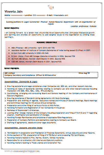 Example Of Excellent And Professional Company Secretary Cum MBA Finance  Resume Sample/Template With Work Experience As A Company Secretary And HR  Compliance ...
