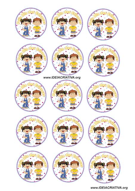 Lembrancinha Dia das Crianças Rótulos personalizados Personagens Galinha Pintadinha