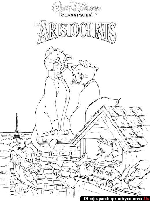 Dibujos de Los Aristogatos para Imprimir y Colorear