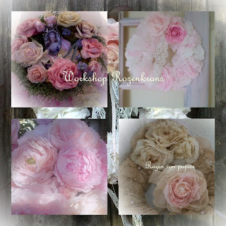 Shabby kransen met papieren rozen