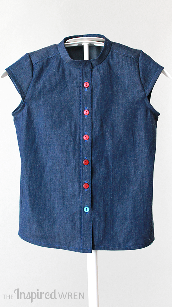 Sew a modified Burda 9491 for a classic, denim girl's blouse | The Inspired Wren