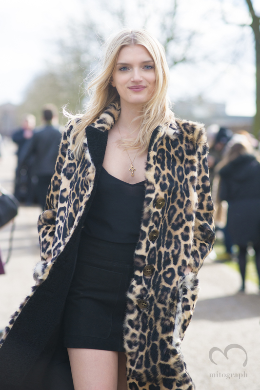 British Model Lily Donaldson leaves Burberry Prorsum 2015-2016 Fall Winter show during London Fashion Week LFW