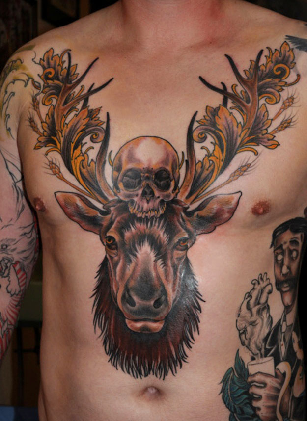 Chest+skull+stag+tattoo%2c+tattoo+designs%2c+tattoo+ideasjpg