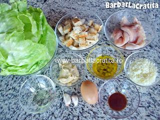 Salata Caesar cu pui ingrediente reteta