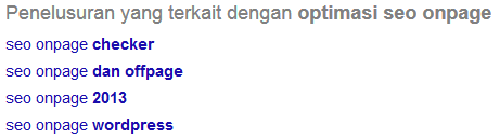 keyword LSI untuk kata kunci Optimasi seo onpage