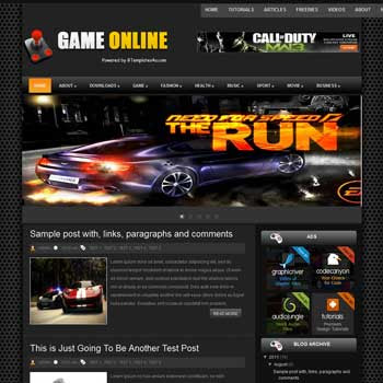 Game Online blogger template. download android news template for blogger