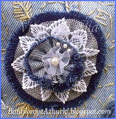 джинсовые цветы на сумку своими руками