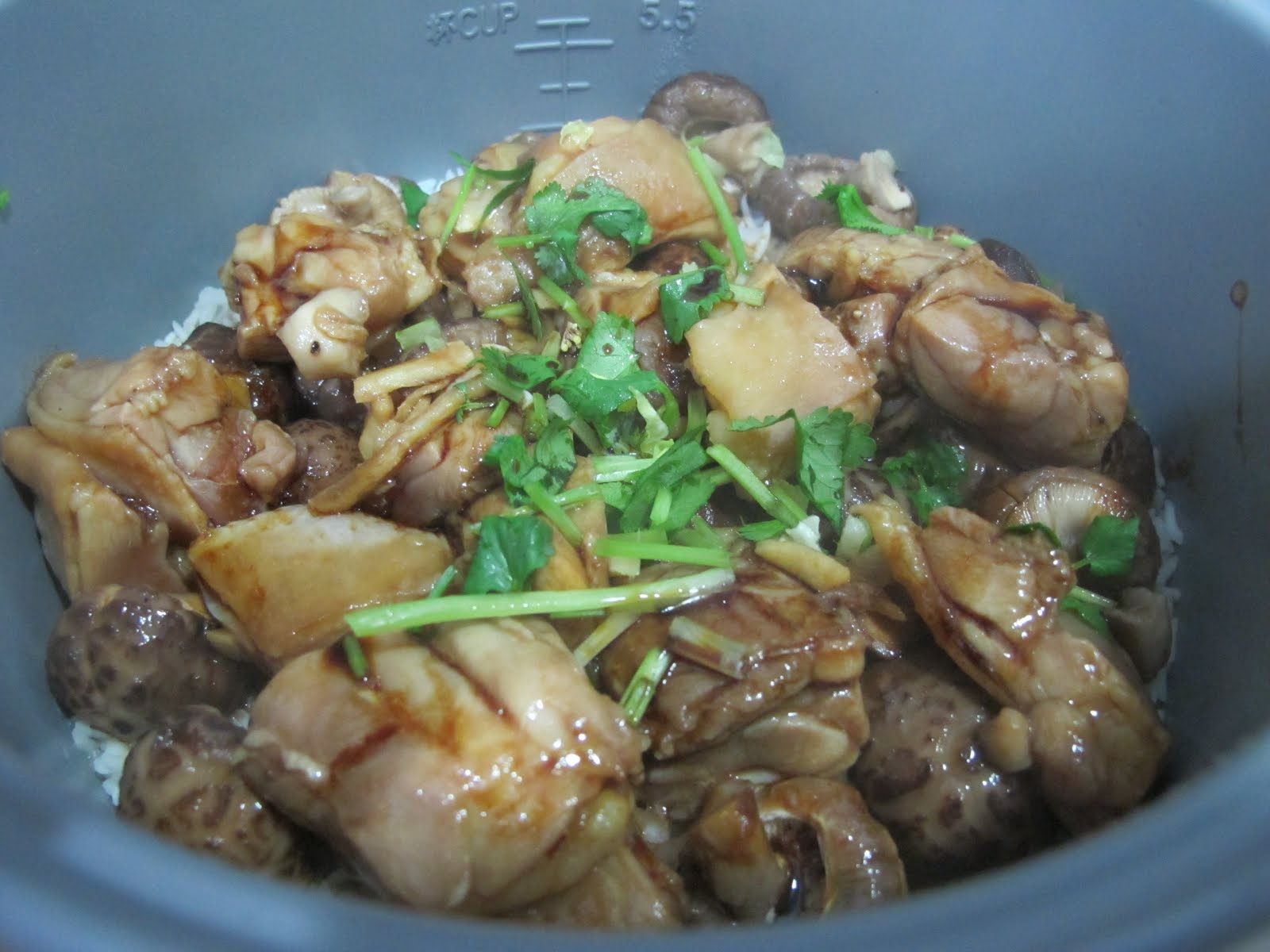chicken and shiitake braised shiitake mushrooms in steamed chicken