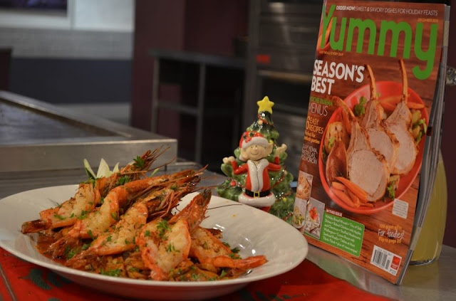 Grilled Butterflied Prawns with Sauteed Mushroom Trio Recipe