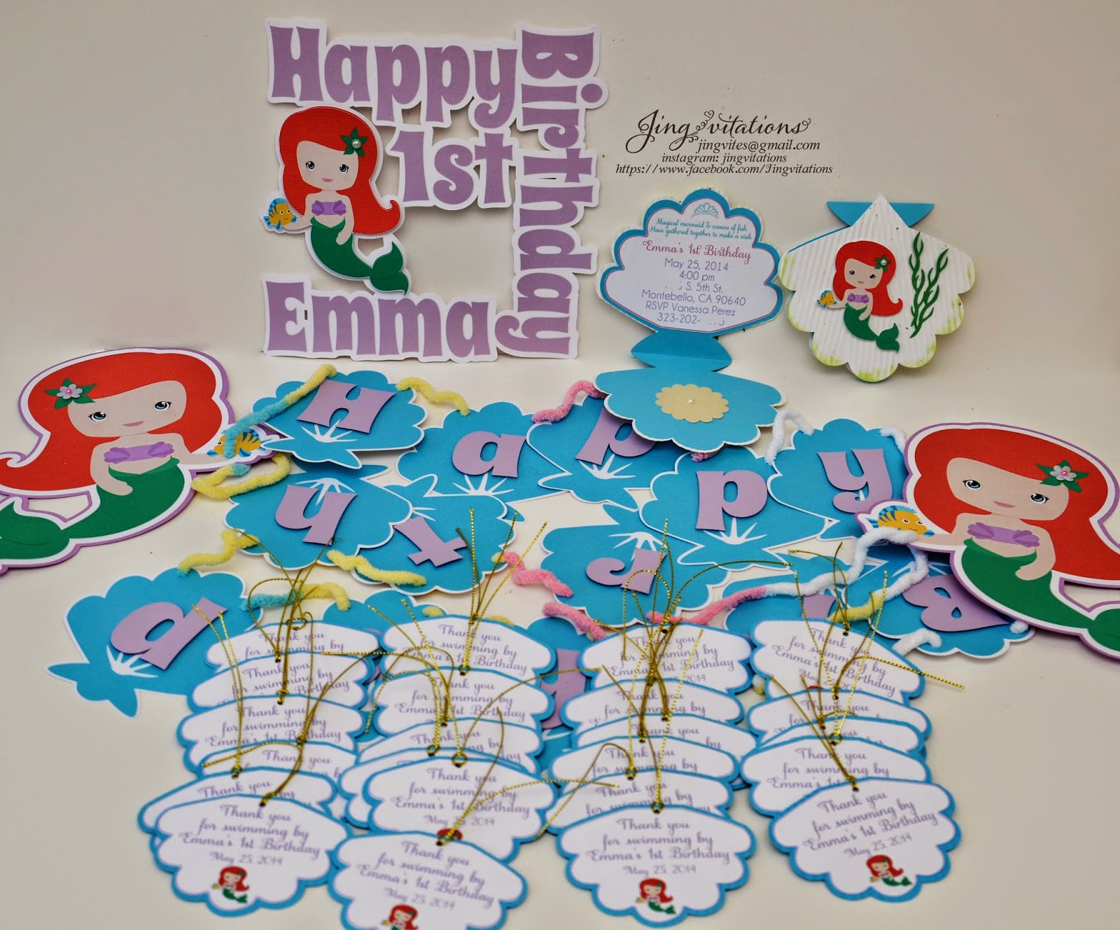 little mermaid invitations, banner, gift tags, cake topper