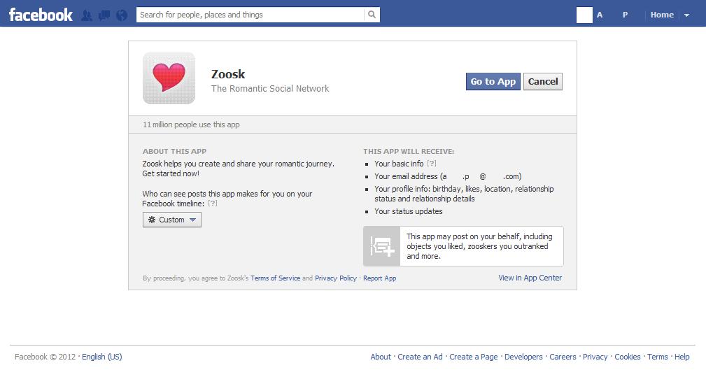 zoosk app facebook