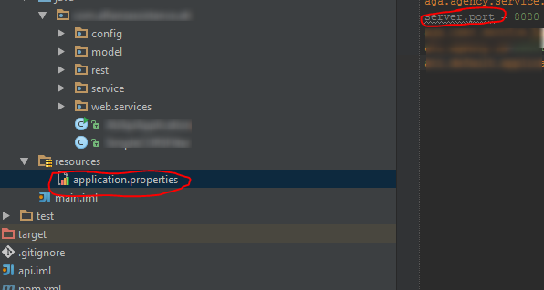 Update application properties to change port