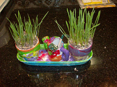Casey & Rebecca painted an indoor garden and we grew, well, grass.  Can you see the garden tools?