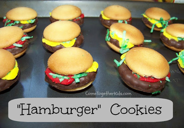 Cute and easy no-bake hamburger cookies